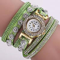 Часы браслет Duoya  в стразах зеленые