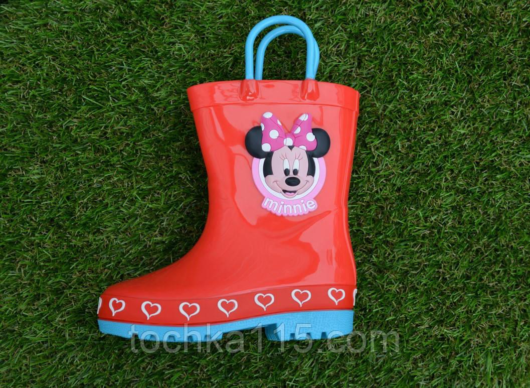 Детские резиновые сапоги на девочку красные Мики Маус 22- 28, фото 1