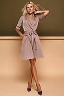 Комфортное Платье на Запах в Деловом Стиле Бежевое S-XL, фото 1