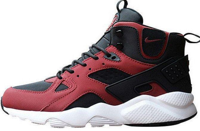"""Мужские зимние кроссовки Nike Air Huarache High Top """"Burgundy Black"""" (люкс копия)"""