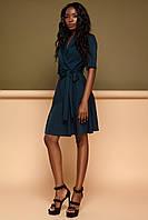 Комфортное Платье на Запах в Деловом Стиле Изумрудное S-XL, фото 1