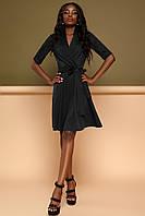 Комфортное Платье на Запах в Деловом Стиле Черное S-XL, фото 1