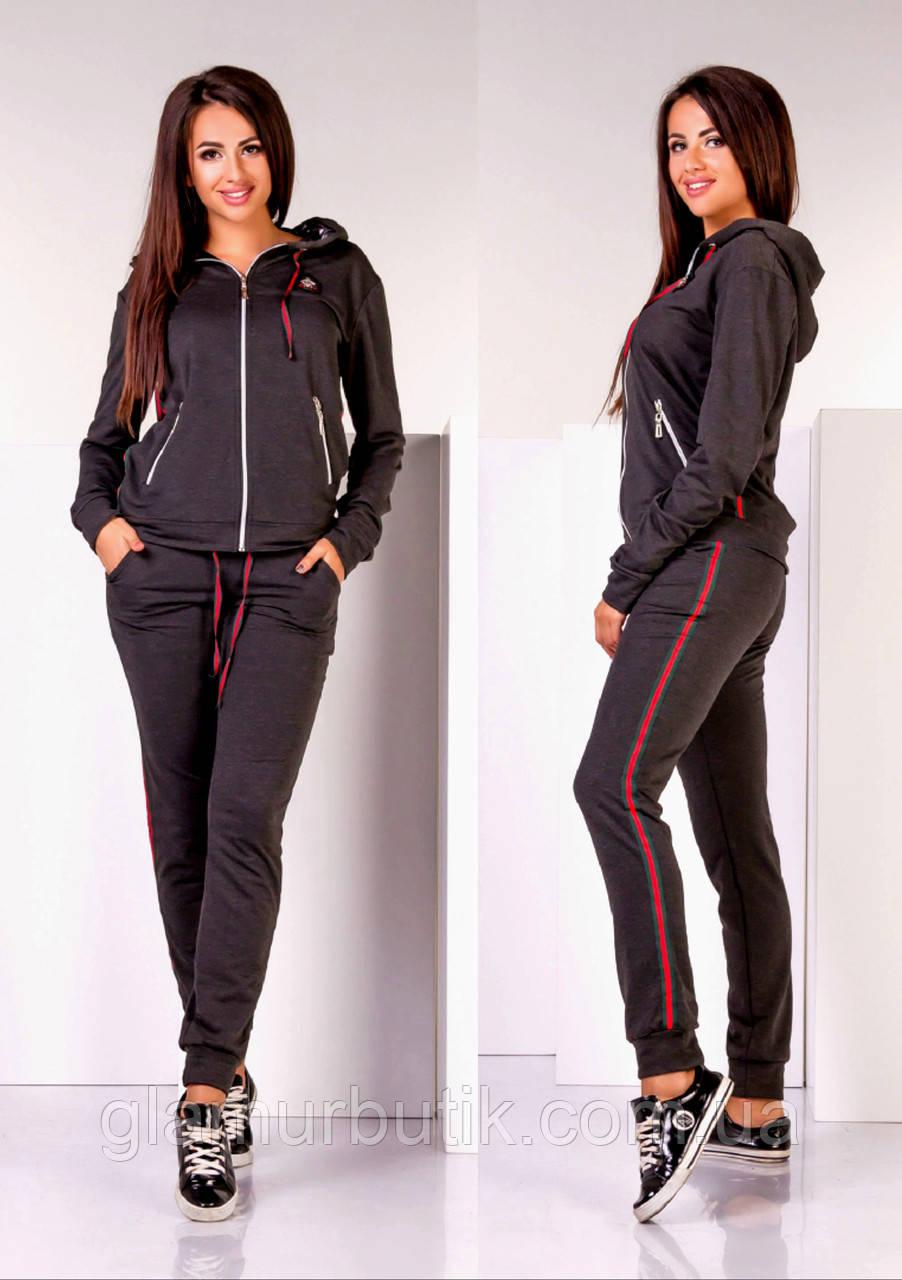 29a60f4a94f1 Женский спортивный костюм Gucci штаны и кофта на молнии с капюшоном серый  графит 42 44 46