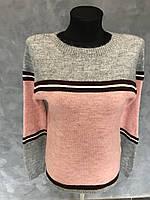 Женский свитер Полоска. Размер XS. Цвет пудра