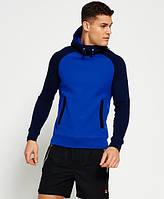 Тёплая мужская толстовка с рукавами реглан синяя