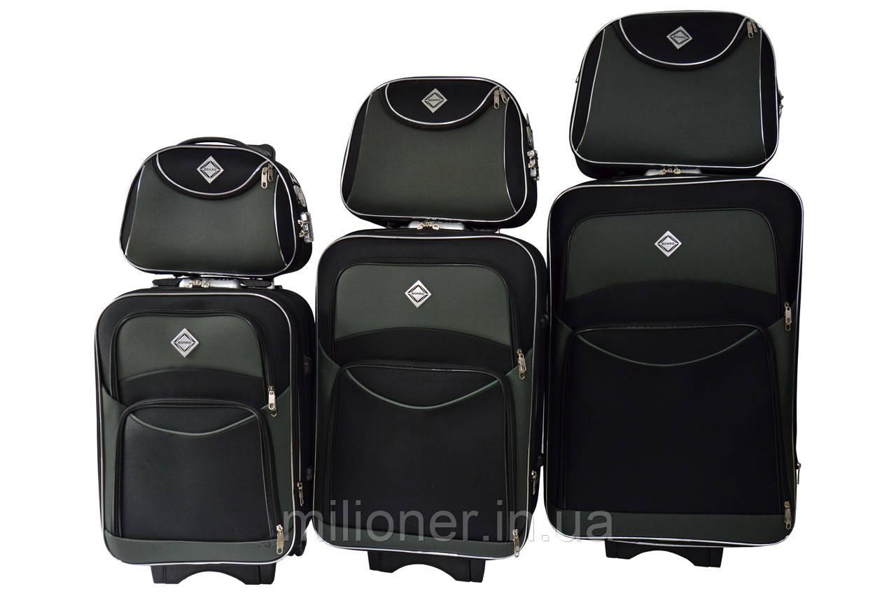 Набор чемоданов и кейсов 6в1 Bonro Style черно-серый