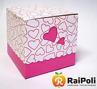 Упаковка для чашек розовая с сердечками