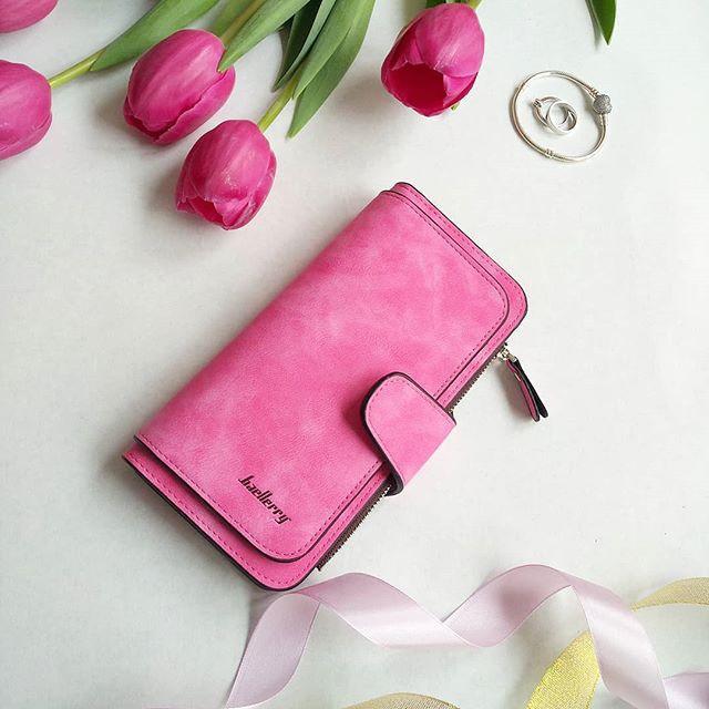 Женский клатч в стиле Baellerry Forever ярко розовый замша PU