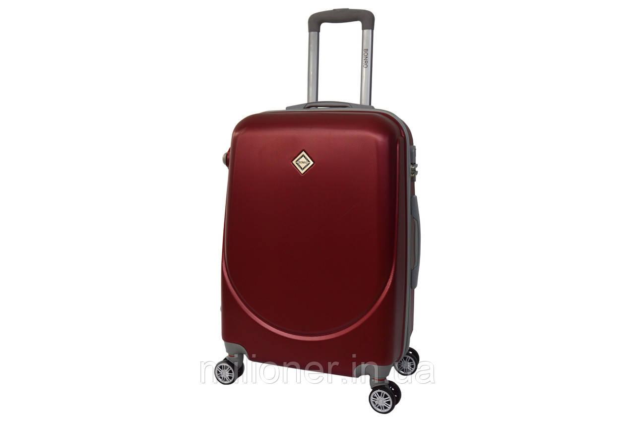 Чемодан Bonro Smile с двойными колесами (большой) бордовый
