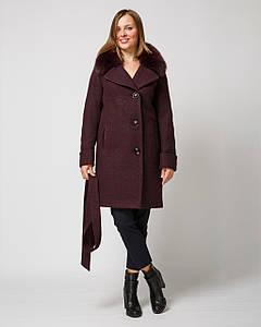 Зимнее женское пальто с мехом в тон изделия