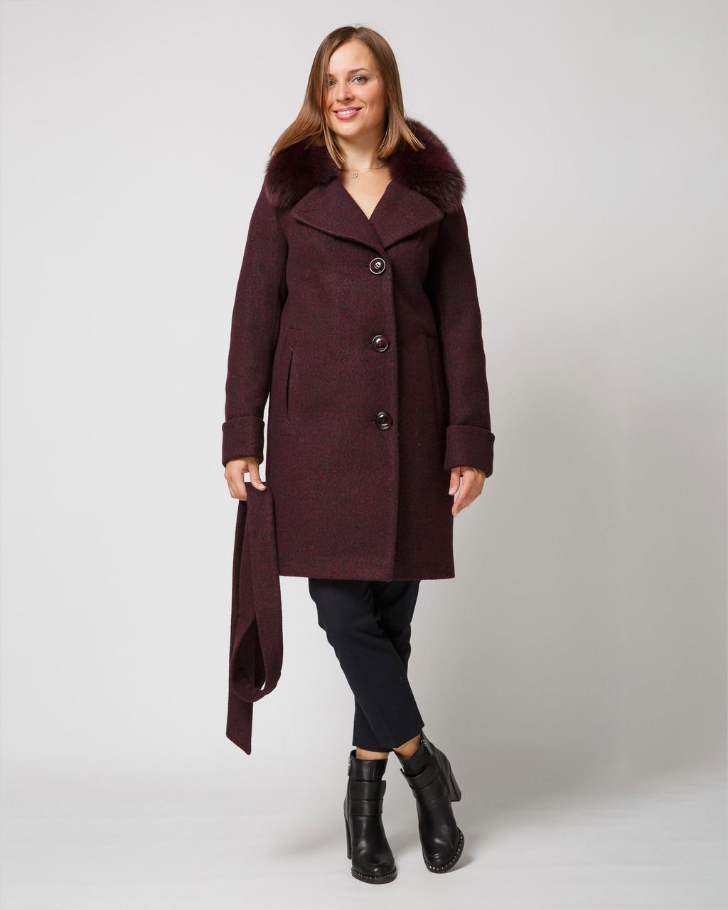 Зимнее пальто с мехом в тон изделия