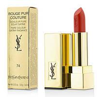 Помада для губ увлажняющая, стойкая, лаковая YSL Rouge Pur Couture, №74 SPF 15 3.8 г. (тестер)