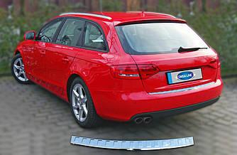 Накладка на задний бампер (AVANT, нерж.) - Audi A4 B8 2007-2015 гг.