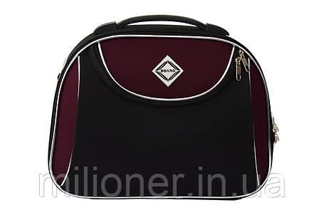 Сумка кейс саквояж Bonro Style (большой) черно-вишневый, фото 2