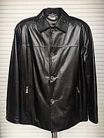 Куртка кожаная натуральная мужская черная лак на пуговицах демисезонная