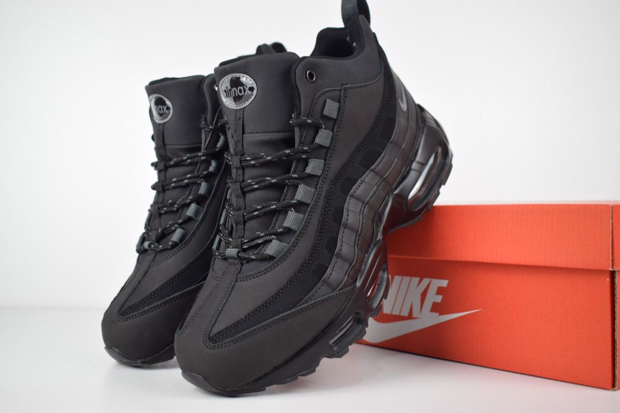 Зимние мужские высокие кроссовки Nike Air Max 95 черные с мехом реплика  +живые фото - a09987ad875