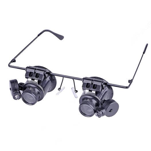 Ювелирная лупа, увеличительные  очки для ремонта Glasses 9892A 20x с подсветкой