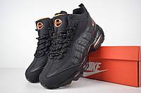 5f946c8e Зимние мужские высокие кроссовки Nike Air Max 95 черные с мехом реплика  +живые фото