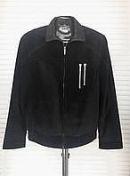 Куртка бомбер мужская замша натуральная короткая под резинку черная ворот стойка