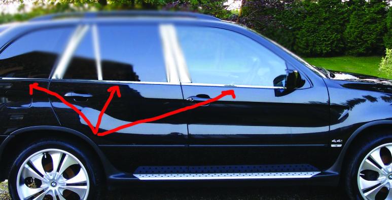 Хром накладки на штатные молдинги стекл - BMW X5 E-53 1999-2006 гг.