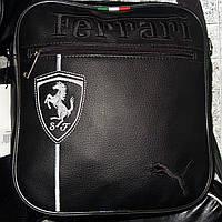 Мужская сумка 012404 черная эко-кожа белая эмблема
