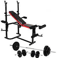 Скамья для жима Hop Sport 1020 + Штанга 90 кг + Гантели 2 х 21 кг, фото 1