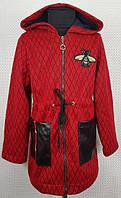 Модный кардиган для девочки красный Пчелка на змейке 128,134,140,146см плотная теплая вязка