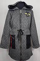 Модный кардиган для девочки серый Пчелка на змейке 128,134,140,146см плотная теплая вязка