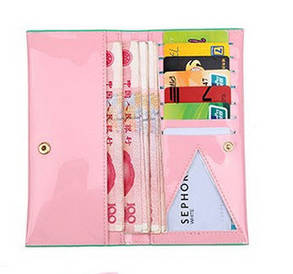 Глянцевий жіночий гаманець з бантиком, фото 2