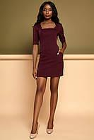 Короткое Облегающее Платье Делового Стиля Марсала S-XL, фото 1