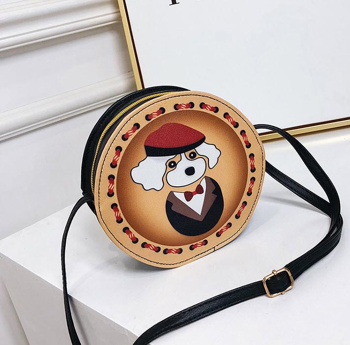 Милые круглые сумочки с принтами собачки