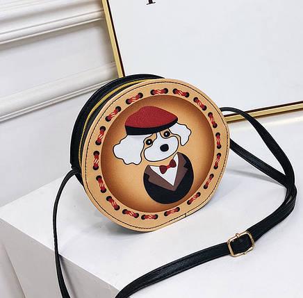 Милые круглые сумочки с принтами собачки, фото 2