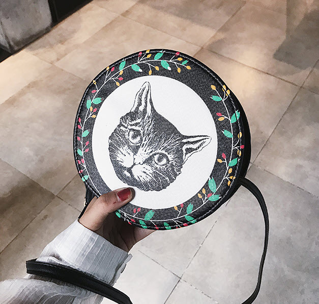 Милые круглые сумочки с принтами котика, собачки, девочки