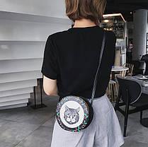 Милые круглые сумочки с принтами котика, собачки, девочки , фото 2