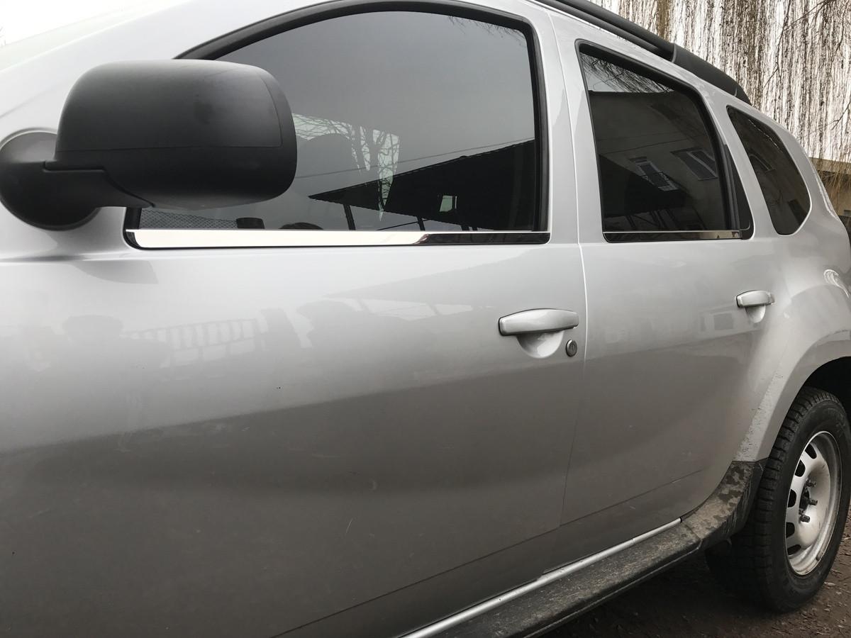 Молдинг стекла (4 шт, нерж) - Dacia Duster 2008-2018 гг.