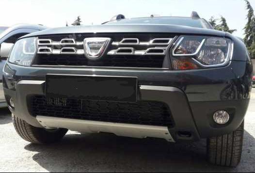 Накладка на передний бампер (ABS, серая) - Dacia Duster 2008-2018 гг.