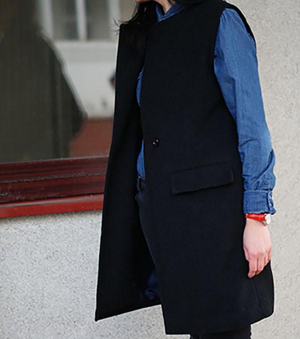 Пальто без рукавов, пальто-жилет, женский жилет Nklook из пальтовой шерсти черный