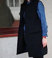 Пальто без рукавов, пальто-жилет, женский жилет Nklook из пальтовой шерсти черный, фото 1
