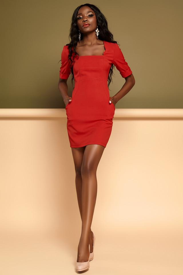 586c6d26bd9 Короткое Облегающее Платье Делового Стиля Красное S-XL - купить по ...