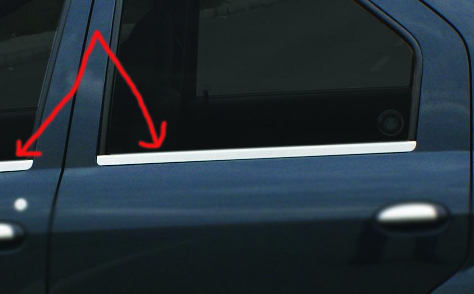 Окантовка окон (4 шт, нерж.) - Dacia Logan I 2005-2008 гг.