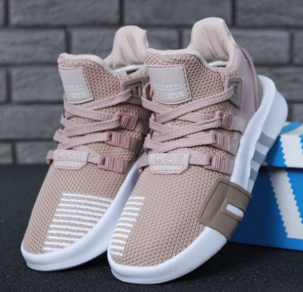 Женские кроссовки Adidas EQT Bask ADV W (Ash Pearl & White). Живое фото. Топ качество! (Реплика ААА+)