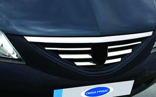 Накладки на переднюю решетка (нерж.) - Dacia Logan MCV 2008-2014 гг.