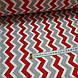 Ткань польская хлопковая, зигзаг красно-серый на белом, фото 3