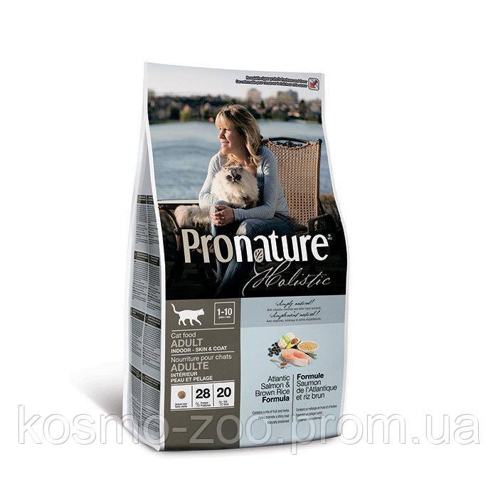 Сухой корм Пронатюр (Pronature Holistic Adult Atlantic Salmon&Brown Rice) с лососем и рисом для котов, 2.72 кг