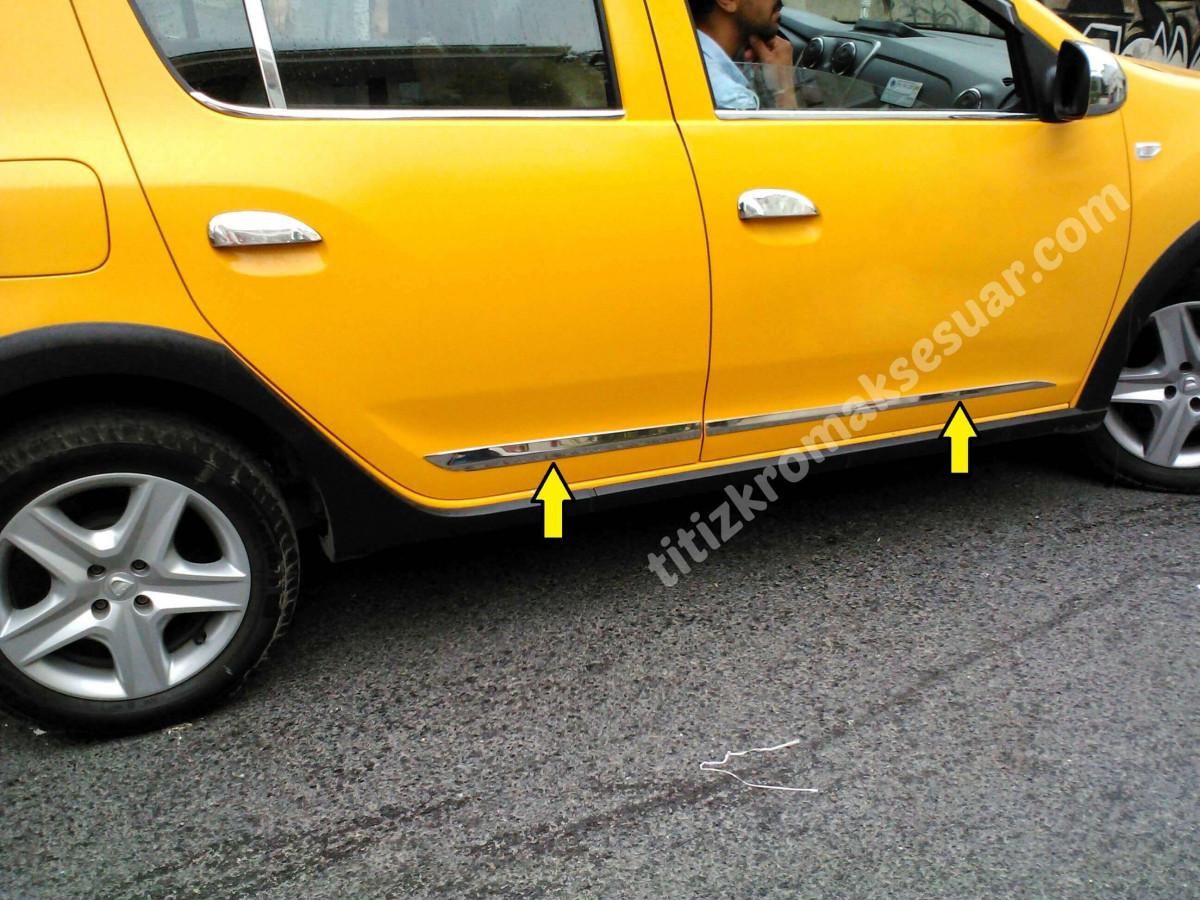 Молдинг дверной (4 шт, нерж) - Dacia Sandero 2013+ гг.