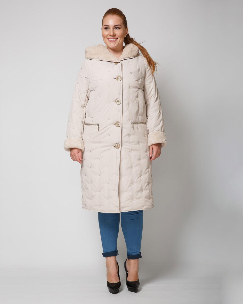 Длинная стеганая женская куртка