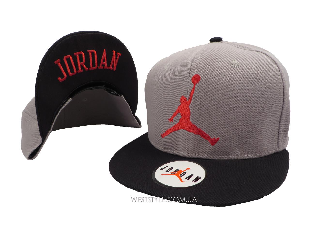 Серая кепка Jordan с черным козырьком (реплика)