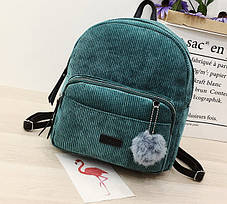 Большой вельветовый рюкзак с помпоном, фото 2