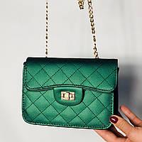 Женская сумка клатч через плечо зеленая Уценка