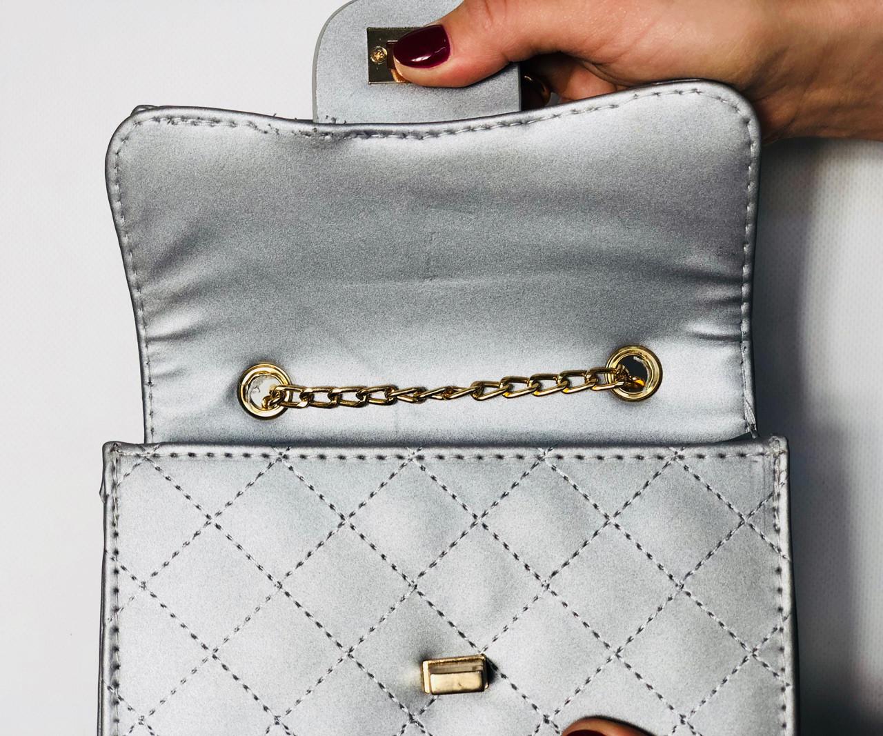 087efdb9a747 Купить Женскую сумку клатч на цепочке серебро в стиле мини Уценку ...